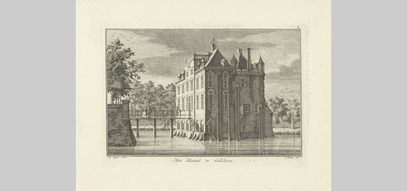 Gezicht op het kasteel te Gellicum, Caspar Jacobsz. Philips, after Jan de Beijer, 1752 - 1789