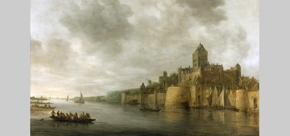 De Valkhofburcht in 1641 door Jan van Goyen