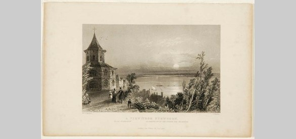 Gezicht op de Waal vanuit het Valkhofpark met links de 'Karolingische' kapel. Staalgravure van Thomas Barber, naar de Britse illustrator-reiziger William Henry Bartlett, omstreeks 1840.