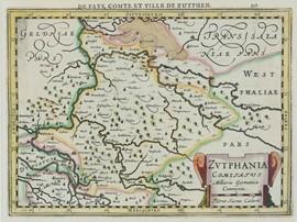 Landkaart, waarop Graafschap Zutphen uit 1630, door P.K. Caelavit in 1630 © Stadsmuseum Doetinchem via CollectieGelderland