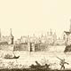Zicht op de stad Wageningen met links het kasteel. Tekening uit 1730 © Het Gelders Archief PDM
