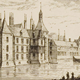 Een prent van het kasteel in Buren in 1612