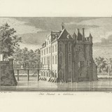 Gezicht op het kasteel te Gellicum, Caspar Jacobsz. Philips, after Jan de Beijer, 1752 - 1789 © Caspar Jacobsz. Philips, Collectie Rijksmuseum PD